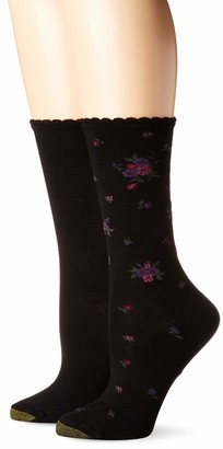 Gold Toe Women's Little Black Bouquet Flat Knit Crew Socks 2 Pairs Shoe Size: 6-9