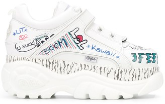 Buffalo David Bitton Graffiti Print Platform Sneakers