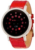 01 The One 01TheOne Women's Odins Rage Crystal Accented Red LED Leather Watch #ORS502R1
