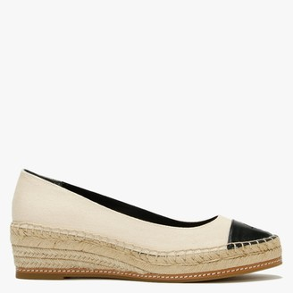 Tory Burch Colour Block 50MM Cream Perfect Black Canvas Low Wedge Espadrilles