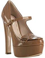 Miu camel patent mary-jane platform loafer pumps