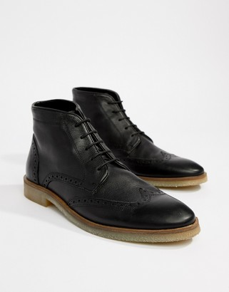 Asos DESIGN Brogue Boots In Black Leather With Natural Sole