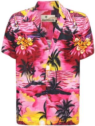 Sunset Pink Printed Hawaiian Shirt