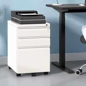 Symple Stuff Ronald 3-Drawer Vertical Filing Cabinet Color: White