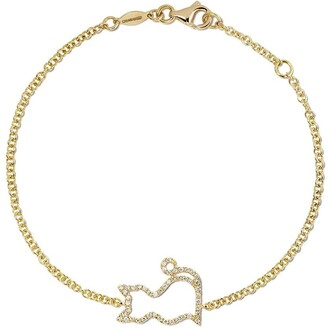 Kiki McDonough 18kt yellow gold Memories diamond-set cat bracelet