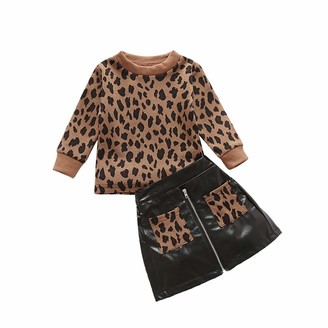 Leopard HipPocket Zip Closure PU Leather Mini A-Line Skirt Warm Outfits Frecoccialo Toddler Baby Girls 2PCS Clothes Set Long Sleeve Leopard Pullover Sweater T-Shirt Tops
