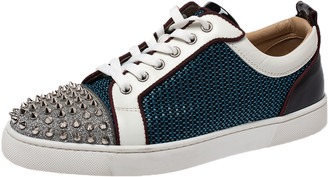 Christian Louboutin Multicolor Leather and Nylon Louis Junior Spikes Sneakers Size 41.5
