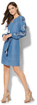 New York & Co. Tassel-Accent Embroidered Peasant Dress - Chambray