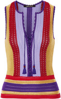 Roberto Cavalli Lace-up Striped Crochet-knit Top - Lilac