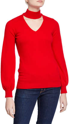 Neiman Marcus Cashmere High-Neck Cutout Blouson-Sleeve Sweater