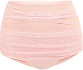 Norma Kamali Bill Ruched Stretch-tulle Bikini Briefs - Baby pink