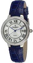 Peugeot Women's 3043SBL Silver Crystal Bezel Blue Leather Strap Analog Display Quartz Blue Watch