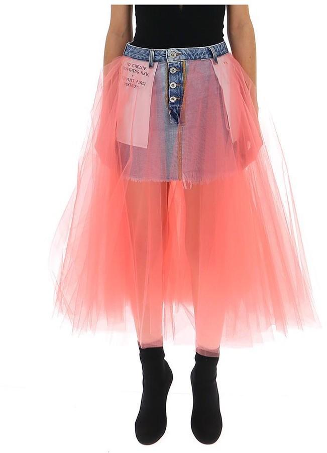 Unravel Project Layered Trim Inverted Denim Skirt