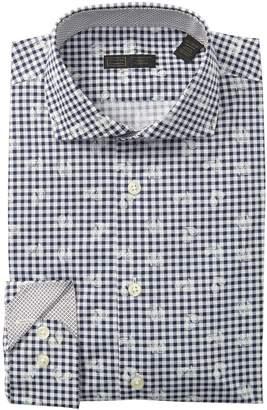 14th & Union Paisley Check Trim Fit Dress Shirt
