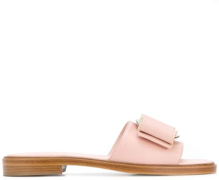 Salvatore Ferragamo studded Vara bow slide sandals