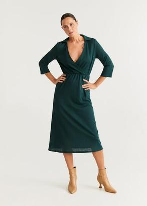 MANGO Wrapped midi dress emerald green - 4 - Women