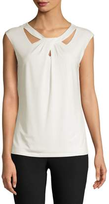 Kasper Suits Cut-Out Sleeveless Top