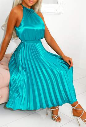 Pink Boutique Your Goddess Teal Pleated Skirt Satin Midi Dress