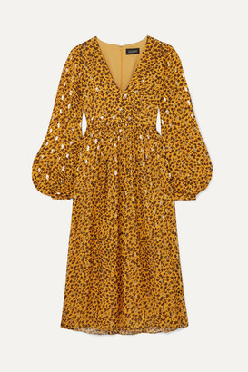 Saloni Venyx Camille Leopard-print Fil Coupe Silk-blend Chiffon Midi Dress - Gold