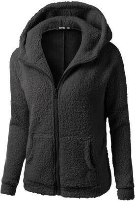 Toamen Women's Coat Womens Coats Clearance Toamen Winter Warm Faux Wool Zipper Fleece Lined Hooded Jacket Coat Parka Outwear Jacket Overcoat Outercoat Tops (Black 20)
