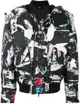 Versus collage print padded jacket