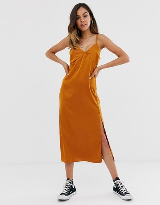 New Look satin slip dress in rust-Red