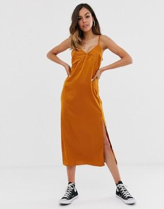 New Look satin slip dress in rust