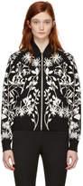Alexander McQueen Black Botanical Spine Bomber Jacket