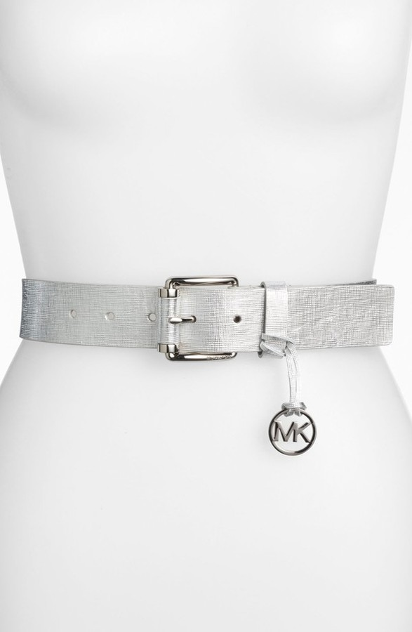 MICHAEL Michael Kors Logo Charm Metallic Leather Belt