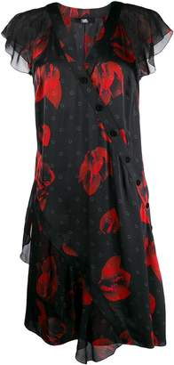 Karl Lagerfeld Paris floral ruffle shift dress
