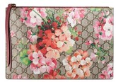 Gucci Gg Blooms Large Canvas & Suede Pouch - Beige