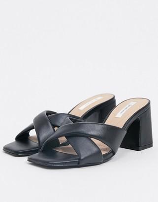 Stradivarius heeled sandal in black