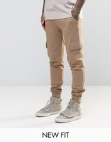Asos Skinny Joggers In Light Camel With Cargo Pockets
