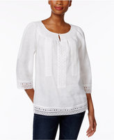 Charter Club Linen Lace-Trim Peasant Top, Created for Macy's