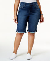 Melissa McCarthy Trendy Plus Size Embroidered Bermuda Shorts