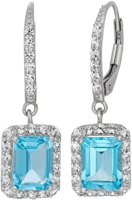 Sterling Silver Blue Topaz & Lab-Created White Sapphire Rectangle Drop Earrings