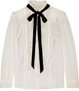 Marc Jacobs Pussy-bow Ruffled Lace-trimmed Cotton-voile Blouse - Ivory