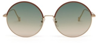 Loewe Round Metal And Leather Sunglasses - Green Multi