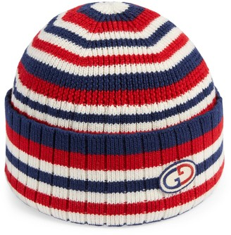 Gucci Striped wool hat with GG patch
