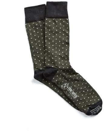 Corgi Polka Dot Socks in Olive