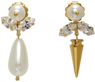 Simone Rocha Gold Pearl Spike Earrings