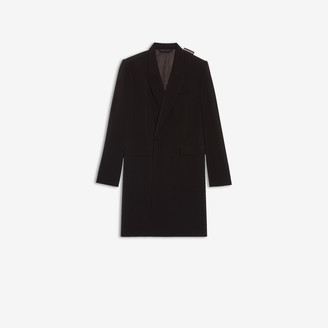 Balenciaga 80s Shoulder Coat in black crepe twill