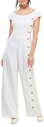 Gal Meets Glam Jordan Linen Blend Button Down Wide Leg Jumpsuit