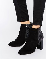 Head Over Heels By Dune Odessa Glitter Mirror Heeled Ankle Boots