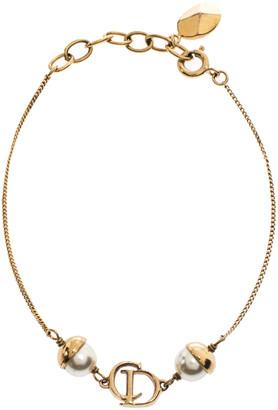 Christian Dior Mise En Faux Pearl Gold Tone Bracelet