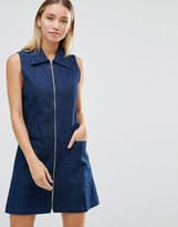 AX Paris Zip Front Denim Shift Dress