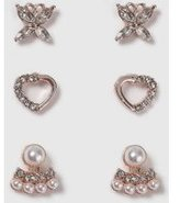 Dorothy Perkins Womens Butterfly And Heart Earring- Clear