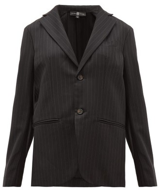Edward Crutchley Single-breasted Pinstriped Wool-twill Blazer - Black