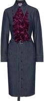 Acne Studios Kruella Belted Ruffled Velvet-trimmed Denim Shirt Dress