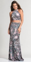 Dave and Johnny Exotic Print Two Piece Prom Dress